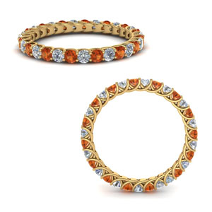 1 Ct.  Eternity Bands with Orange Sapphire
