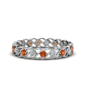 Orange Sapphire Anniversary Eternity Ring