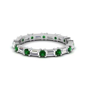 1.25 ct. baguette and round diamond eternity band with emerald in 14K white gold FDEWB318BGEMGR NL WG