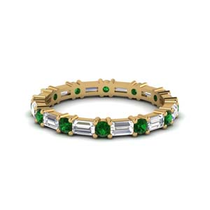 1.25 ct. baguette and round diamond eternity band with emerald in FDEWB318BGEMGR NL YG