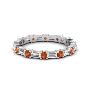 1.25 Ct. Orange Sapphire Baguette Band
