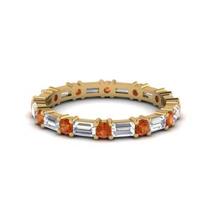 Baguette Orange Sapphire Eternity Band