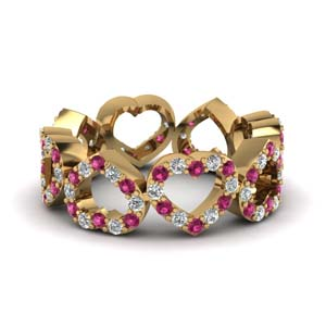 Heart Design Band With Pink Sapphire