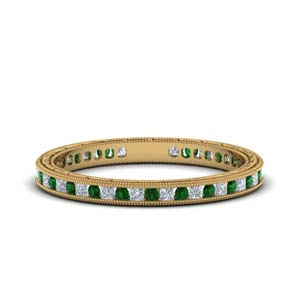 0.50 Ct. Antique Channel Emerald Band