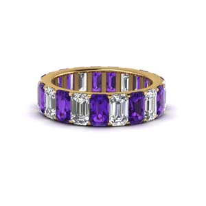 Yellow Gold Amethyst Eternity Band