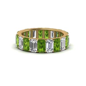 Peridot Emerald Cut Eternity Band