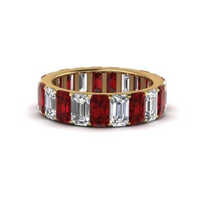 Ruby With Emerald Cut Band