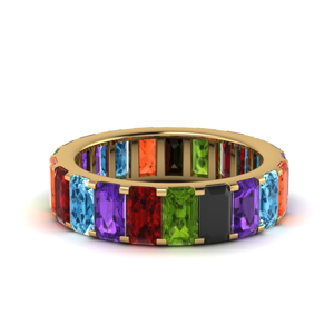 18K Gold Rainbow Eternity Band