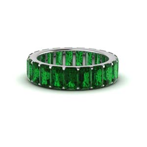 White Gold Emerald Eternity Band