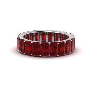 18K White Gold Garnet Eternity Band