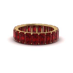 14K Yellow Gold Garnet Eternity Band