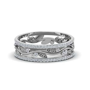 Diamond Wide Eternity Leaf Band