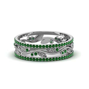 Leaf Pattern Emerald Wedding Band