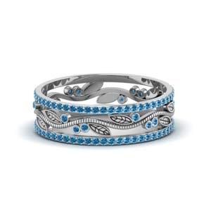Womens Wedding Band With Topaz