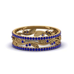 Wide Branch Design Sapphire Wedding Ring