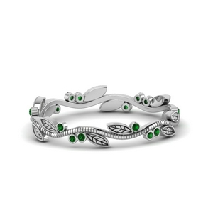 Emerald Wedding Band With Leaves