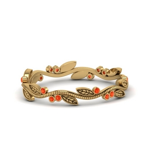 Orange Topaz Tree Branch Wedding Band