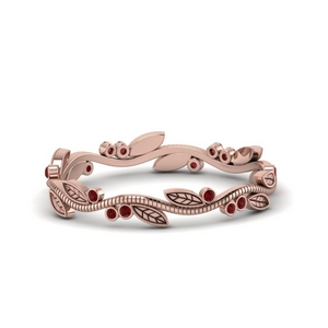 Rose Gold Leaf Band With Ruby
