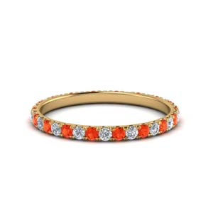 Round Orange Topaz Anniversary Band