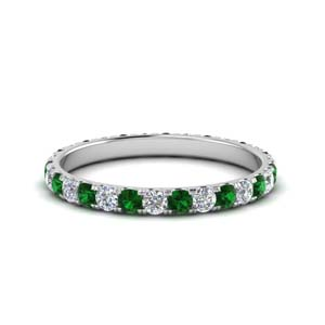 0.75 Ct. Emerald Wedding Band