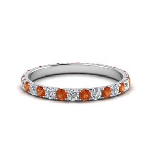 Orange Sapphire Round Cut Band