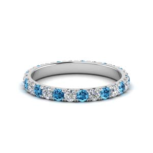U Prong Topaz Platinum Band