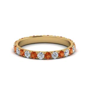 One Carat Orange Sapphire Band
