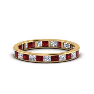 2 carat princess cut diamond eternity band with ruby in 14K yellow gold FDEWB8384 2.0CTBGRUDR NL YG