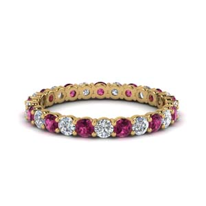 1 carat round eternity anniversary diamond ring with pink sapphire in 14K yellow gold FDEWB8387 1.0CTBGSADRPI NL YG
