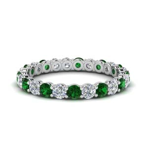 1.50 carat round eternity diamond ring for women with emerald in 950 Platinum FDEWB8387 1.50CTBGEMGR NL WG