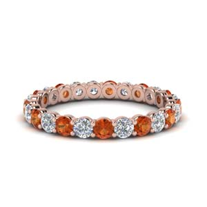 1.50 carat round eternity diamond ring for women with orange sapphire in 18K rose gold FDEWB8387 1.50CTBGSAOR NL RG