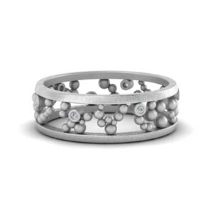 Asymmetrical Beaded Diamond Band