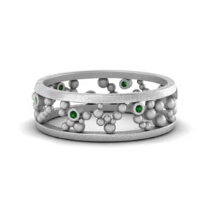 Emerald Beaded Wedding Ring