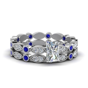 Art Deco Bridal Set With Sapphire