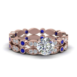 Round Diamond Eternity Wedding Set