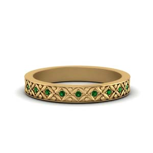 Emerald Floral Carved Eternity Band