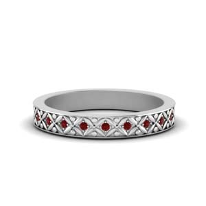 Floral Carved Ruby Eternity Band