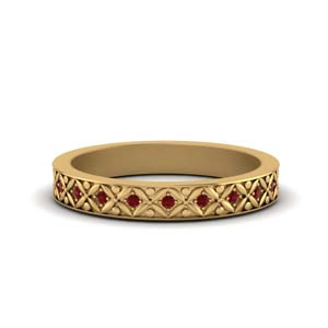 Ruby Floral Carved Eternity Band