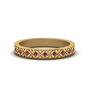Pink Sapphire Floral Carved Band