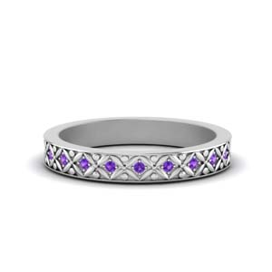 Floral Carved Purple Topaz Eternity Band