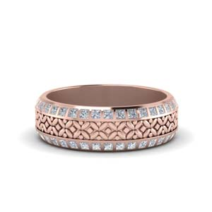 Floral Carved Diamond Band
