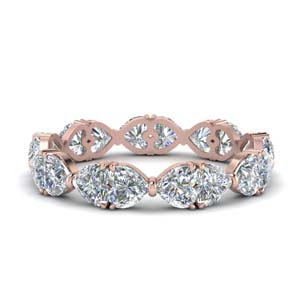 14K Rose Gold Heart Diamond Band