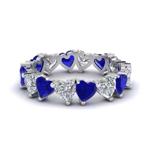 beautiful sapphire heart eternity band 4 carat in FDEWB8860GSABL NL WG