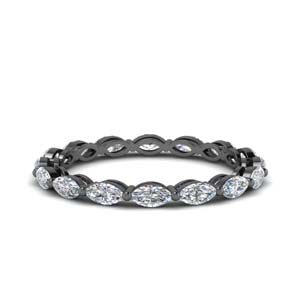 Marquise Diamond Black Gold Band
