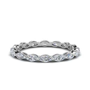 14K White Gold Single Row Diamond Band
