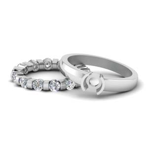 Platinum Semi Mount Bridal Ring Set