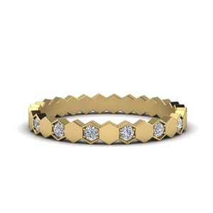 Gold Hexagon Eternity Band