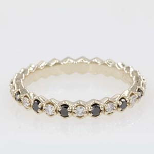 hexagon eternity band with black diamond in 14K yellow gold FDEWB9190BGBLACK