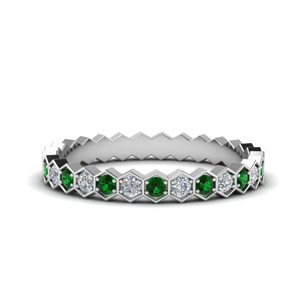 Hexagon Diamond Eternity Band With Emerald