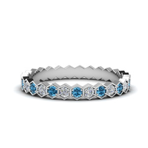 Platinum Blue Topaz Eternity Band